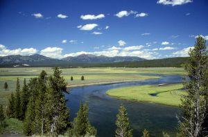 La zona sopra la caldera nel parco di Yellowstone