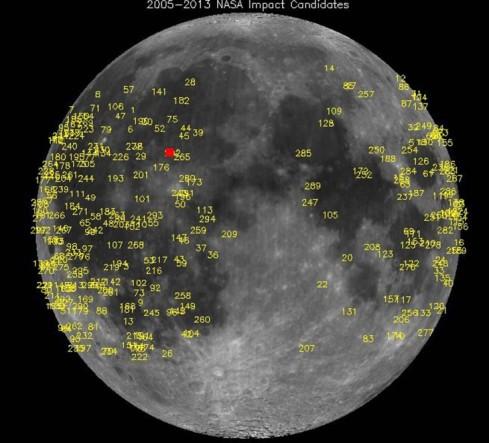Urti registrati sulla Luna tra il 2005 e il 2013