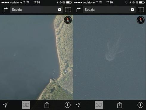Il presunto mostro di Loch Ness nelle mappe satellitari utilizzate da Apple